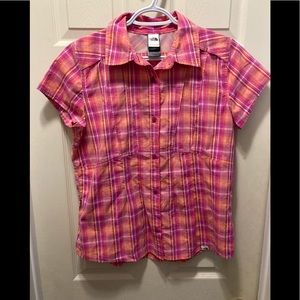 The north face pink plaid button up short sleeve